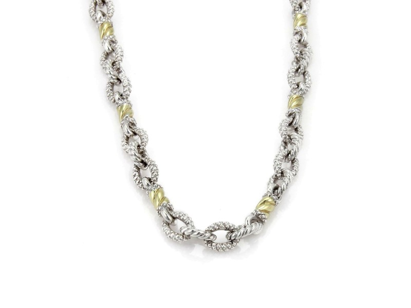 Judith Ripka 18k Yellow Gold & Sterling Silver Textured Fancy Link Necklace