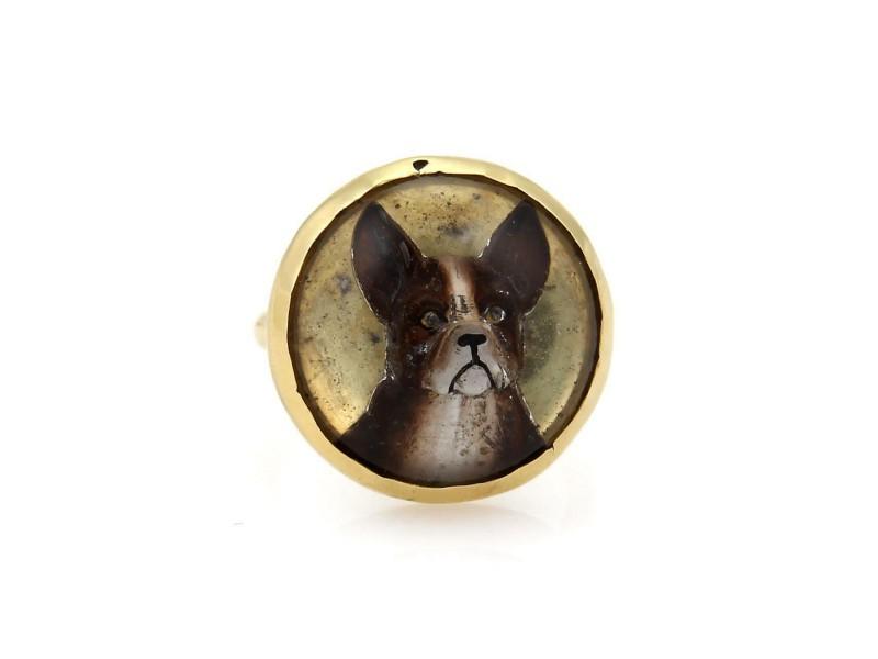 Vintage 18k Yellow Gold 3D Boxer Dog Resin Enamel Ring Size - 7.5