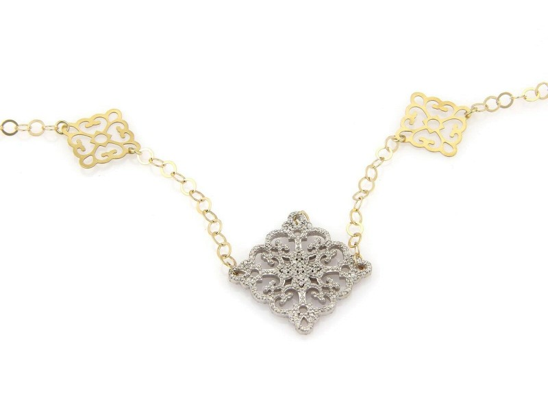 Estate 14kt Two Tone 6ct Diamond Double Sided Fancy Design Long Necklace Italy
