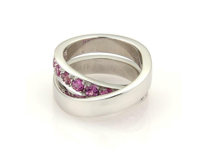Cartier Pink Sapphire Nouvelle Vague 18k Gold Crossover Band Ring Size 49 US 5