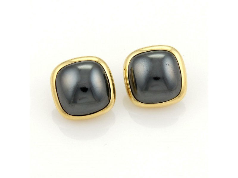 Tiffany & Co. 18k Yellow Gold & Hematite Square Shape Clip On Earrings