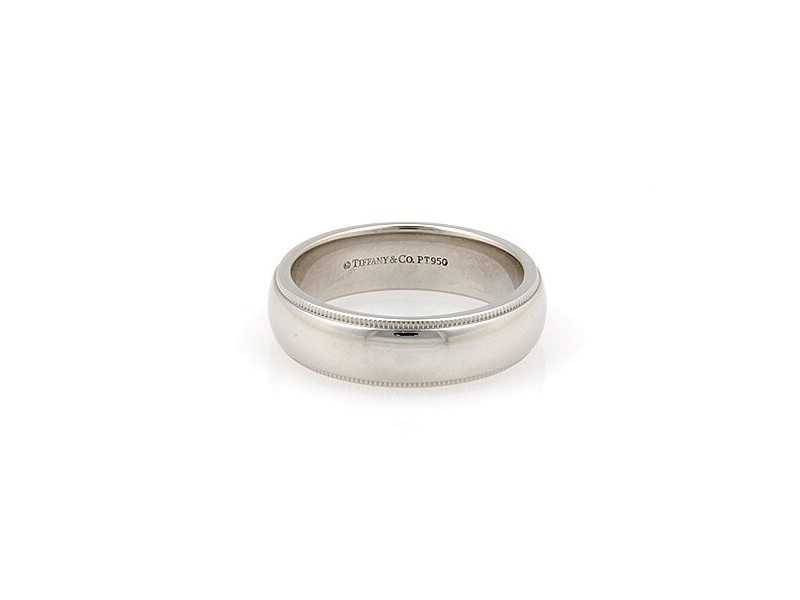 Tiffany & Co. Platinum 6mm Milgrain Wedding Band Ring Size 8.5