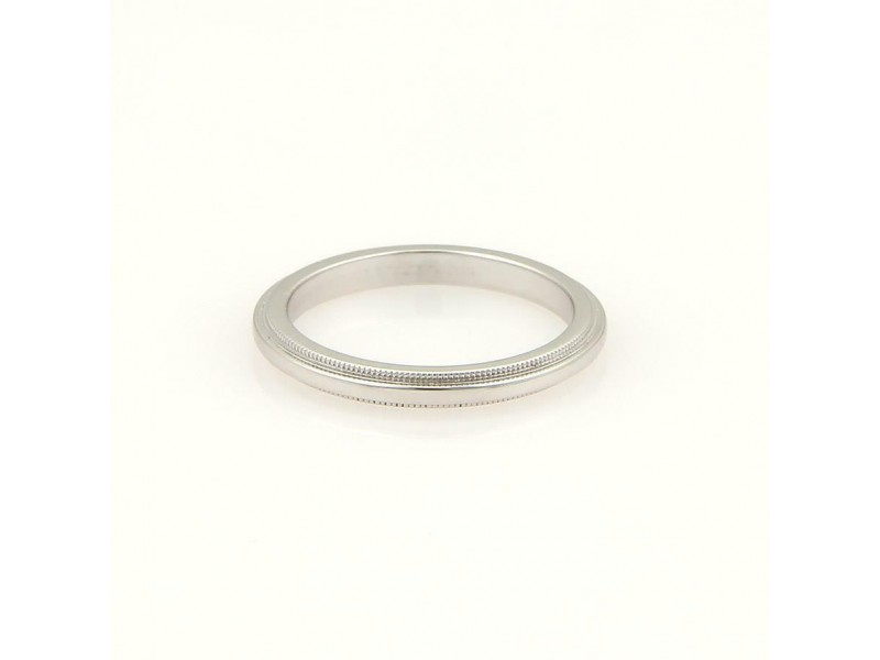 Tiffany & Co. Platinum Double Milgrain 1.5mm Wide Band Ring Size 4.5