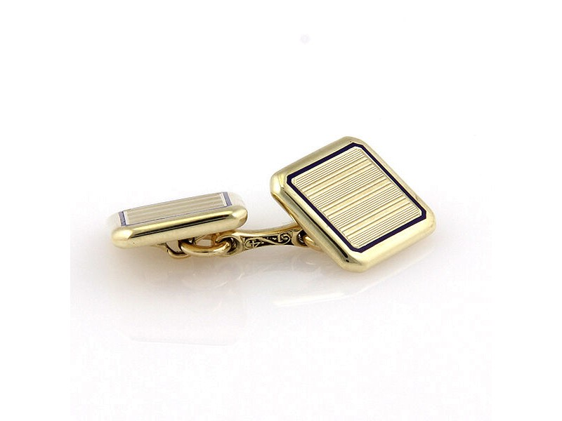 Vintage Cartier 14K Yellow Gold Square Cufflinks with Blue Enamel