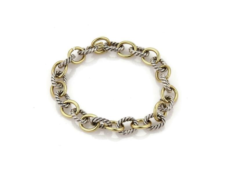 David Yurman 925 Silver & 18k Yelloe Gold Cable Wire Oval Chain Link Bracelet