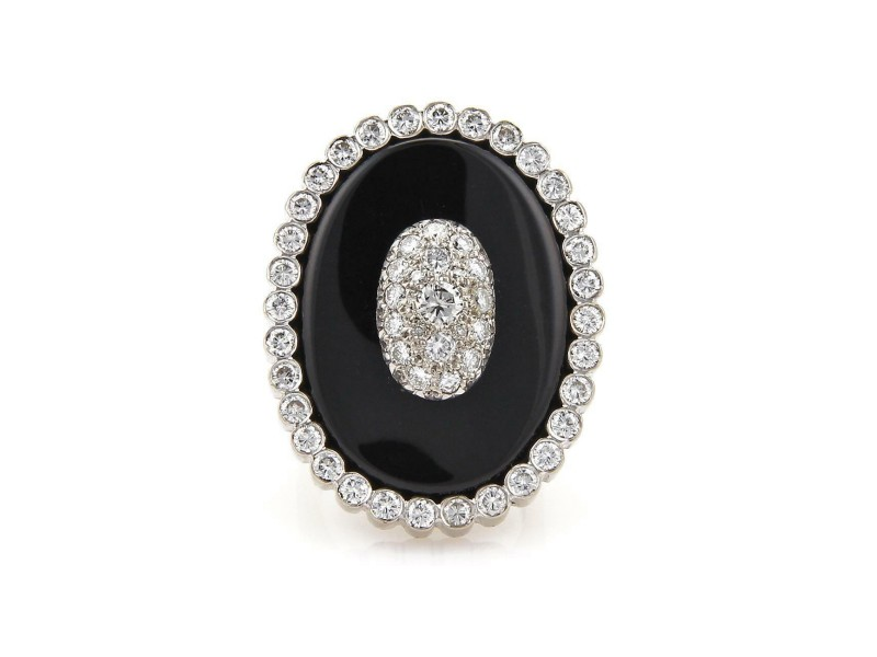Vintage 2.20ct Diamond Onyx 18k Two Tone Gold Large Oval Ring Size 8