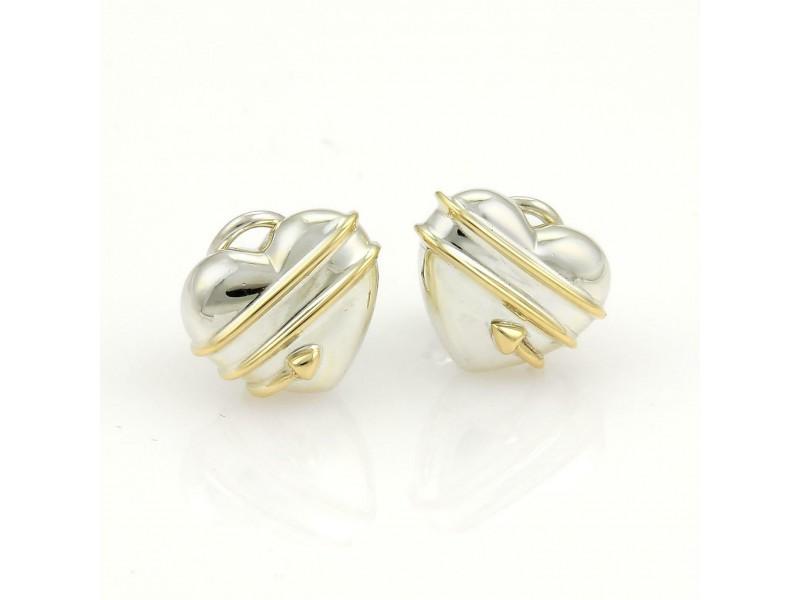 Tiffany & Co. 18k Yellow Gold 925 Silver Cupid Arrow Heart Clip On Earrings