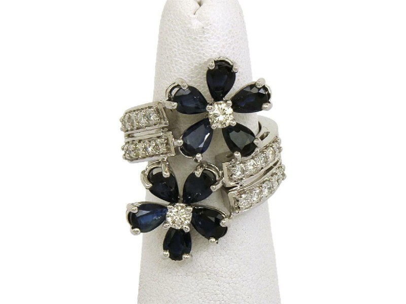 Estate 4.00ct Diamond & Sapphire 14k White Gold Floral Bypass Ring