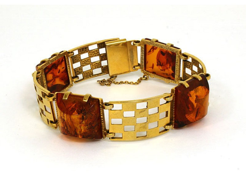 Vintage 8k Yellow Gold & Amber Ladies Unique Design Bracelet