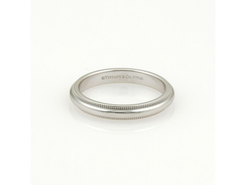 Tiffany & Co. Platinum Double Milgrain 3mm Dome Wedding Band Ring Size 3.5