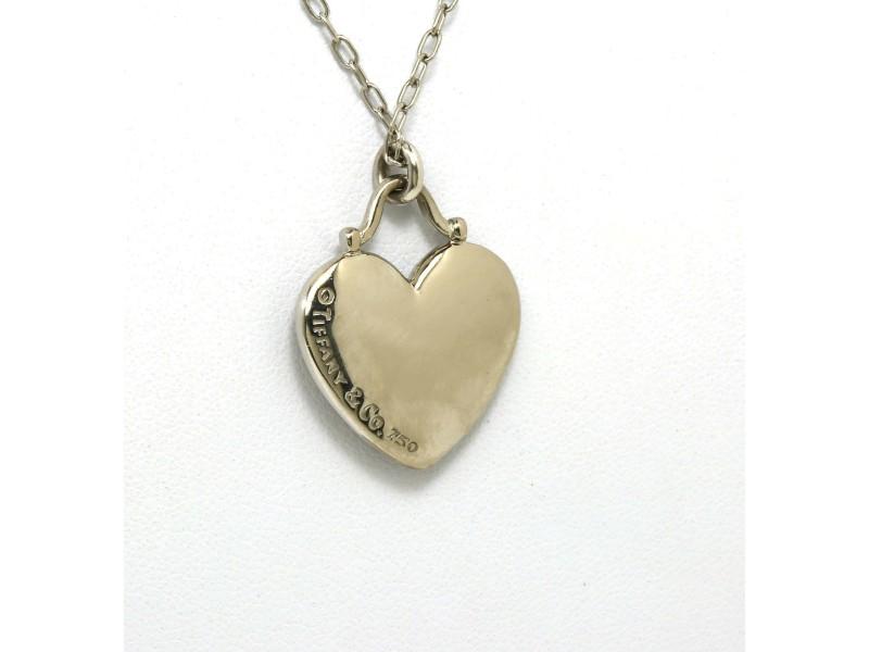 Tiffany & Co. 18k White Gold  .20ct. Diamond Heart Pendant & Chain Necklace