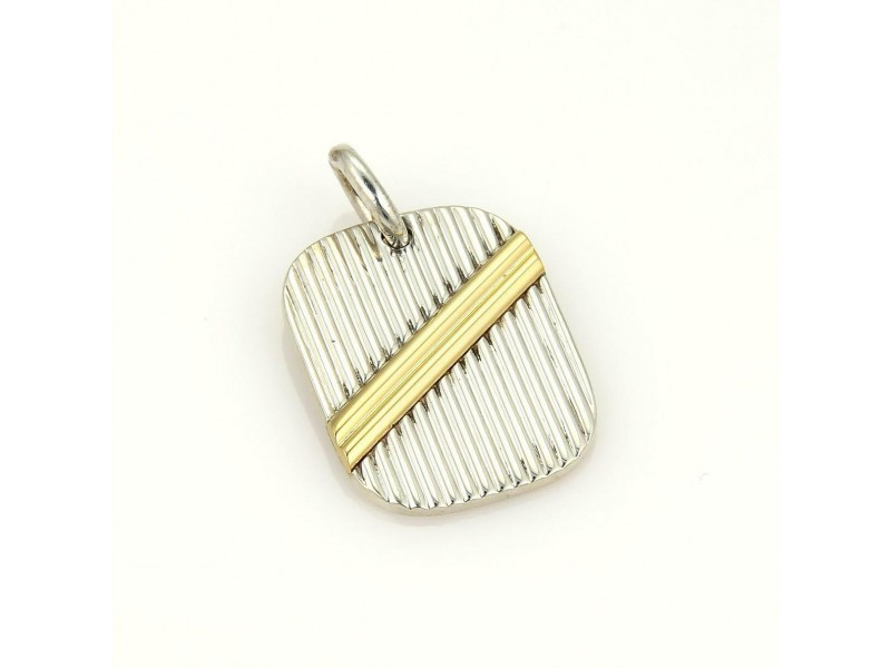 Tiffany & Co. 18k Yellow Gold & Sterling Silver Ribbed Tag Pendant