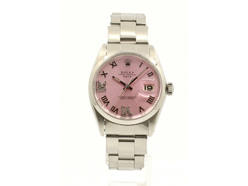 Mens Vintage ROLEX Oyster Perpetual Date 34mm PINK Roman Dial Stainless Watch