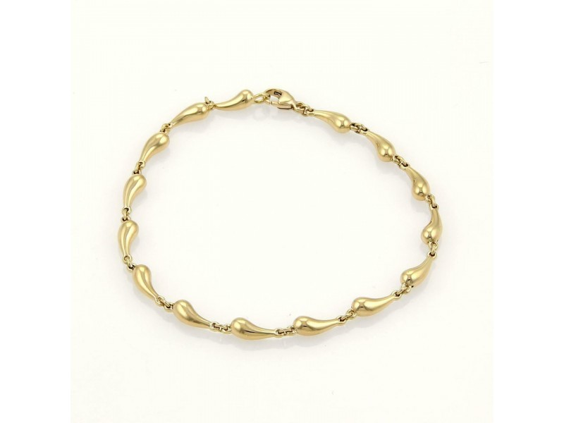 Tiffany & Co. Peretti Teardrop 18k Yellow Gold Chasing Link Bracelet