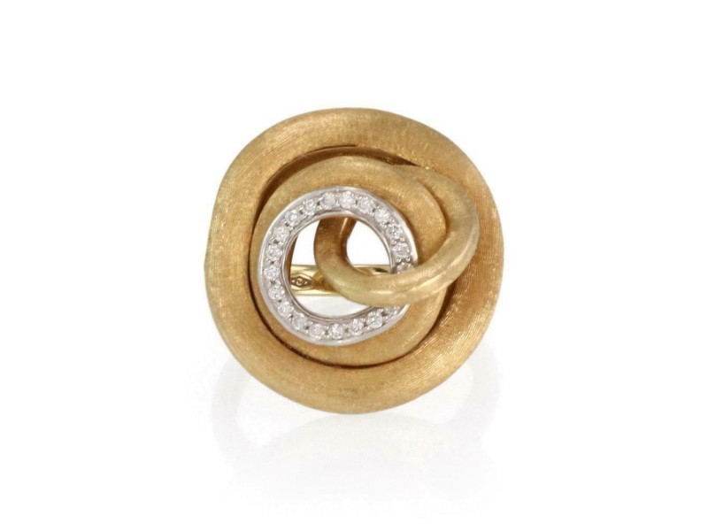 Marco Bicego Diamond 18k Two Tone Gold Swirl Top Ring Size 6.75