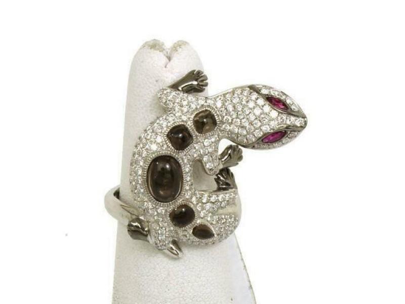 NEW 1.75ct Diamonds & Rubies Cabochon Topaz 3D Lizard Ring Size 6.25