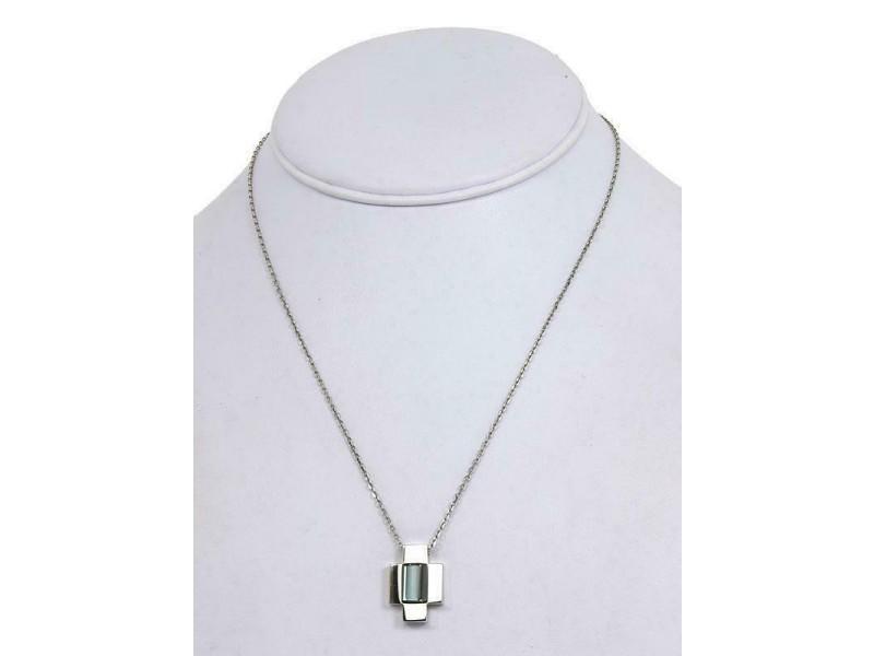 Gucci 2.50ct Blue Topaz 18k White Gold Fancy Cross Pendant Necklace