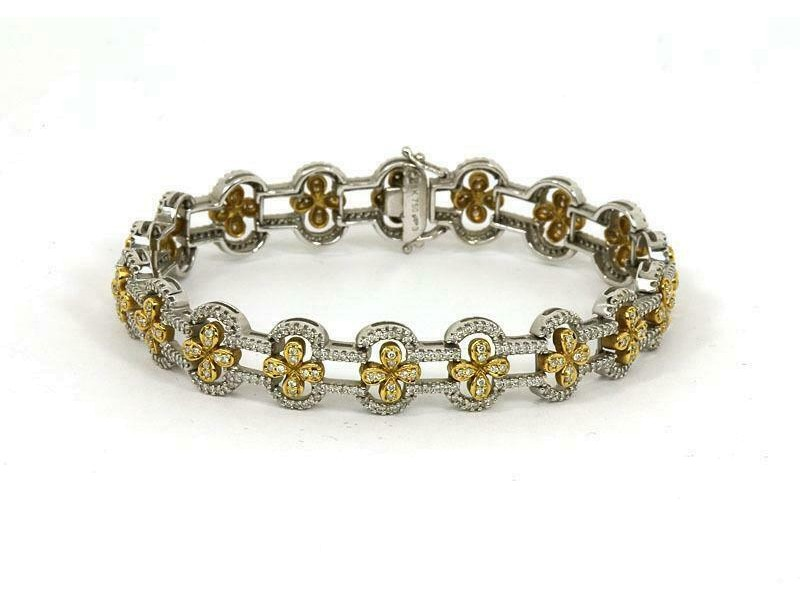 Estate 3.25ct Diamond 18k Yellow Gold Floral Link Bracelet
