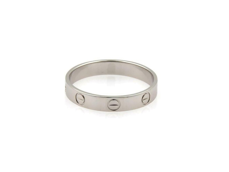 Cartier Mini Love 18k White Gold 3.5mm Band Ring Size EU 59-US 8.75 Paper