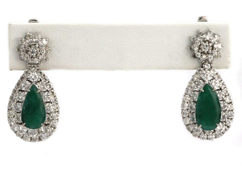 Estate 10ct Diamond & Emerald 14k White Gold Pear Shape Long Earrings