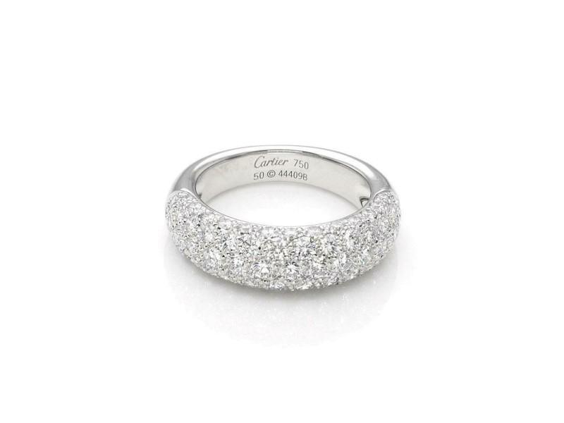 Etincelle de Cartier Diamond 18k Gold Band Ring Size 50 Paper Ret $10,500
