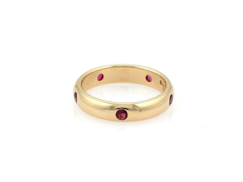 Cartier Stella Ruby 18k Gold 4mm Wide Dome Band Ring Size 51-US 5.75