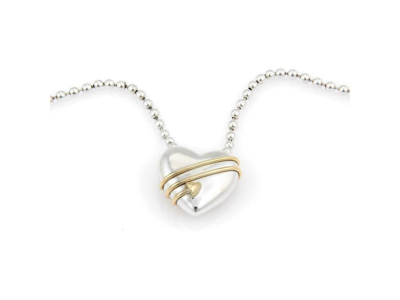 Tiffany & Co.1994 Sterling 18k Gold Cupid's Heart Pendant Bead Necklace