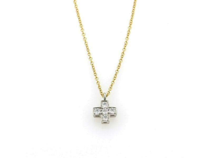 Tiffany & Co. Diamond Platinum 18k Yellow Gold Cruciform Pendant & Chain