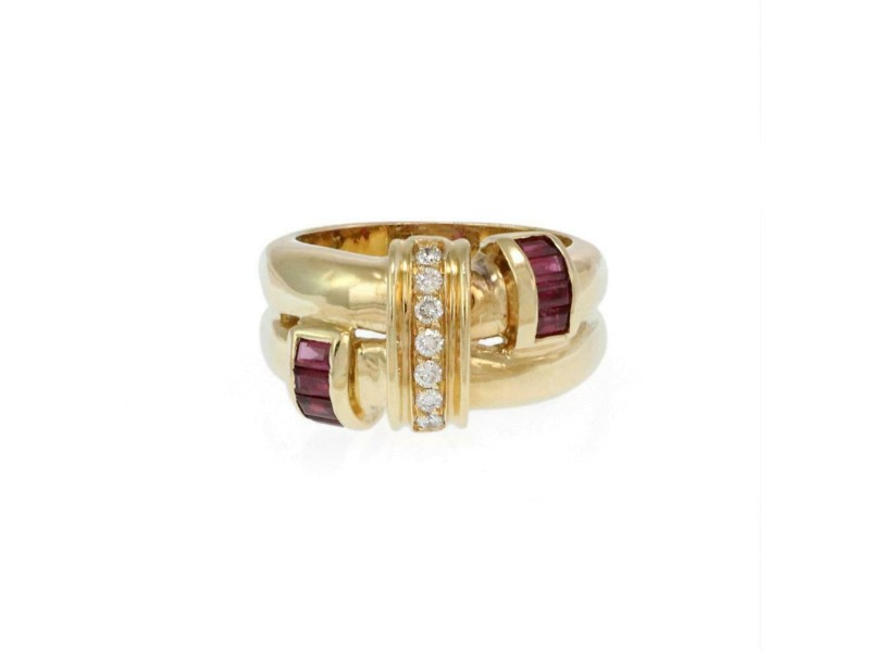 Lovely Diamond & Ruby 18k Yellow Gold Double Fancy Band Ring Size 6.5