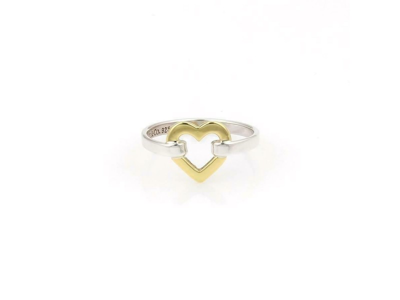 Tiffany & Co. 925 Silver 18k Yellow Gold Open Heart Ring Size - 5