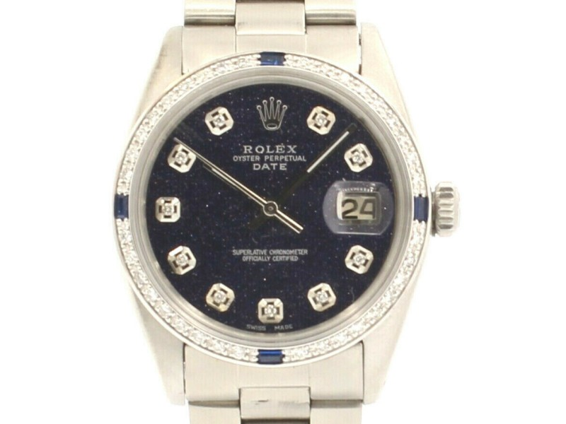 Mens ROLEX Oyster Perpetual Date 34mm Blue Star Dial Diamond Stainless Watch