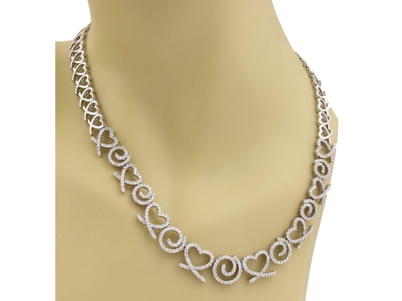 5.83ct Diamond 14k White Gold Graduated Hearts &Swirl Link Collar Necklace