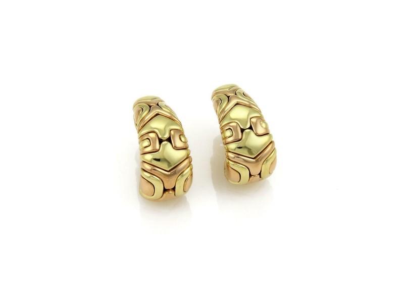 Bvlgari Bulgari Alveare 18kt Rose & Yellow Gold Oval Hoop Earrings