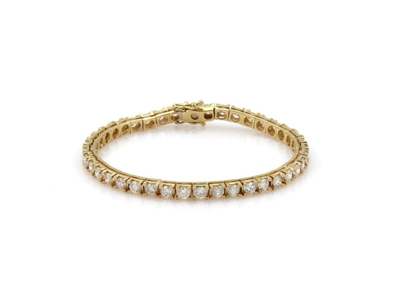 14k Yellow Gold 5.60 Carat Diamond Square Link Tennis Bracelet