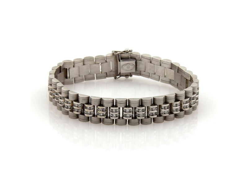 Magnificent 8ct Diamonds 14k White Gold Textured Men's Jubilee Wide Bracelet