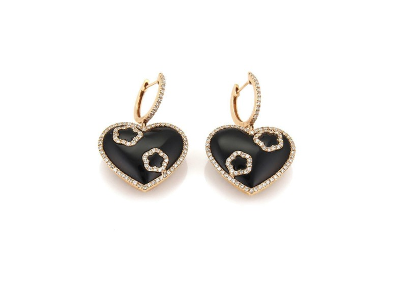 1.00ct Diamond Onyx 18k Rose Gold Hearts Drop Dangle Earrings