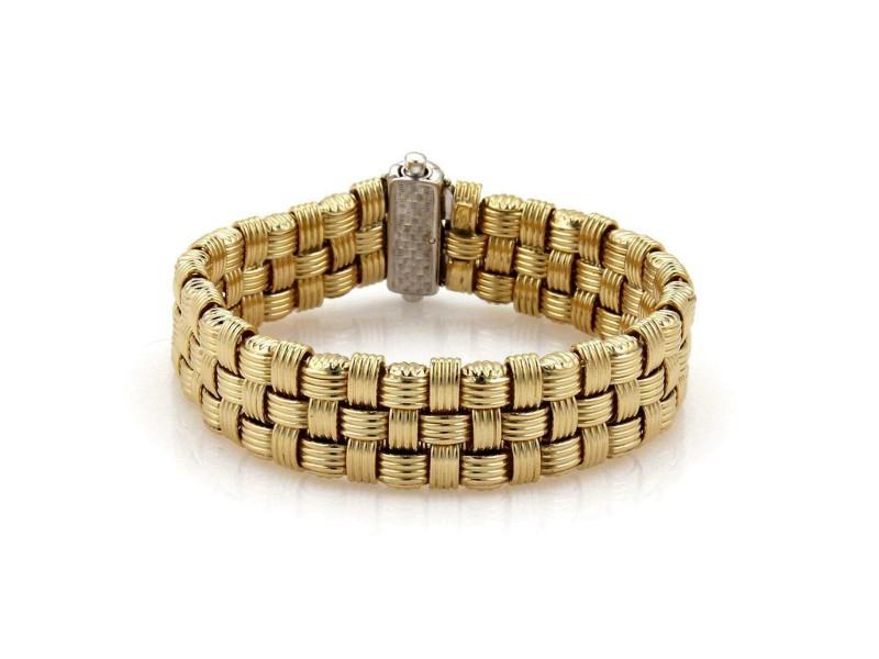 18k Two Tone Gold DAG Italy Diamond Basket Wave 17mm Wide Flex Bracelet