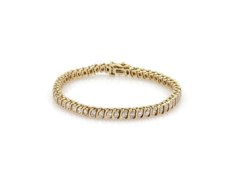 14k Yellow Gold 4.5 carat Marquis Cut Diamond Link Tennis Bracelet