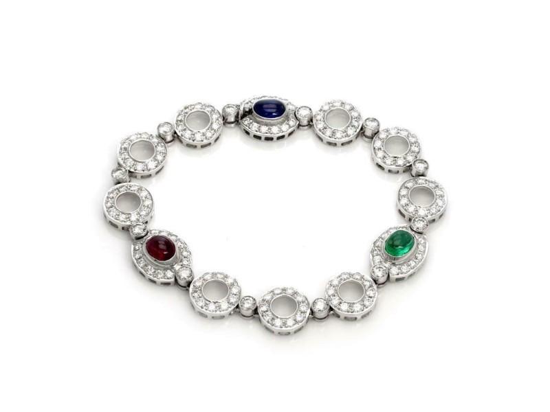 10.15ct Diamond Emerald Ruby Sapphire 18k White Gold Circle Link Fancy Bracelet