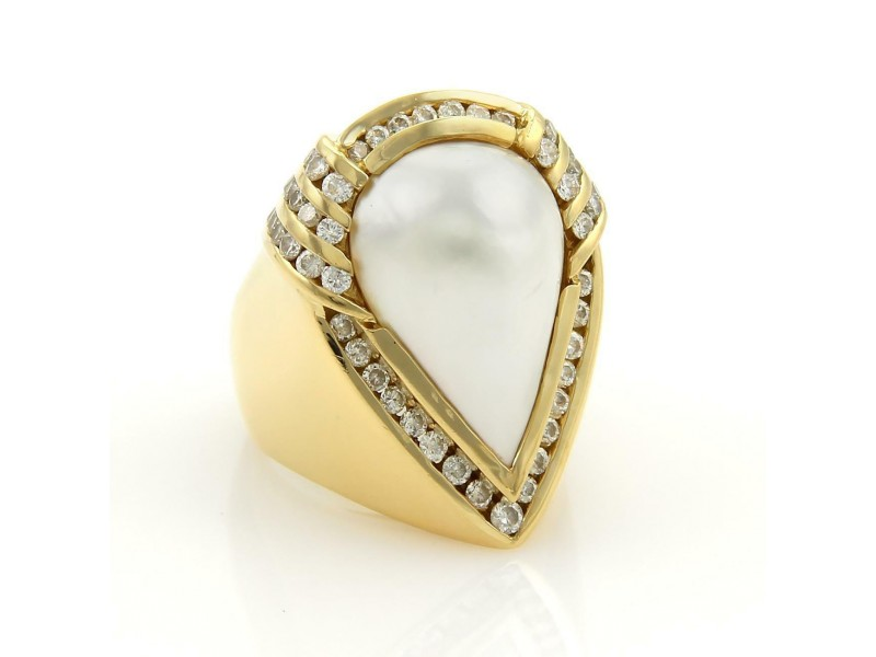 Charles Krypell 2ct Diamonds Mabe Pearl 18k Gold Large Cocktail Ring Size 8