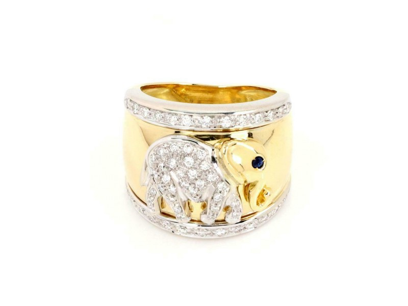 18k Two Tone Gold Diamond Sapphire 18.5mm Wide Elephant Band Ring Size 5