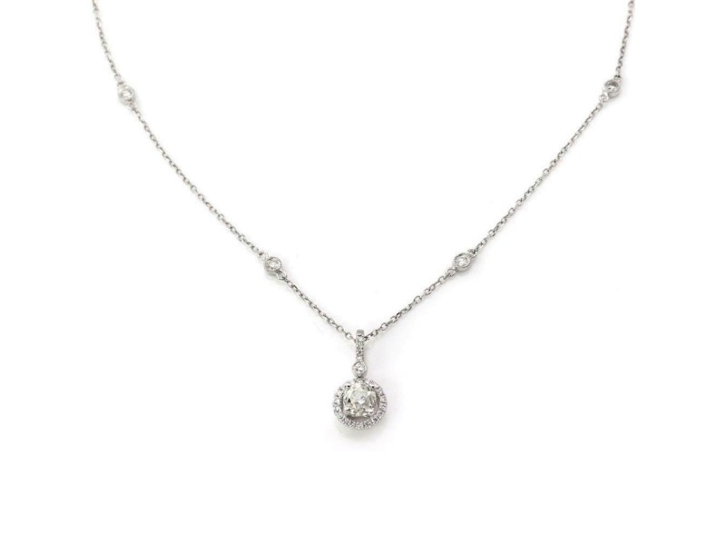 1.10ct Old Mine Cut Diamond Solitaire Pendant Chain in 14k 18k White Gold