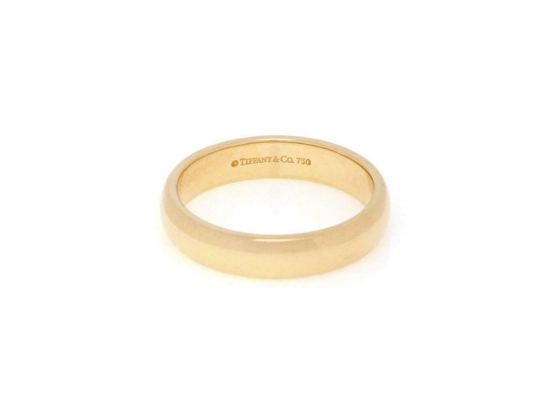 Tiffany & Co. Men's 18k Yellow Gold 4.5mm Dome Wedding Band Ring Size 8.5