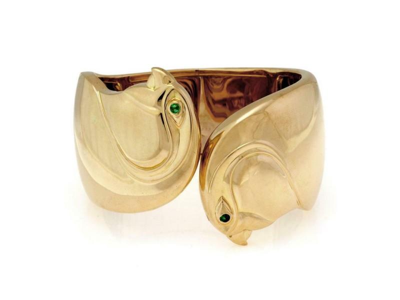 Cartier Emerald 18k Yellow Gold Double Bird Head Wide Cuff Bracelet Paper
