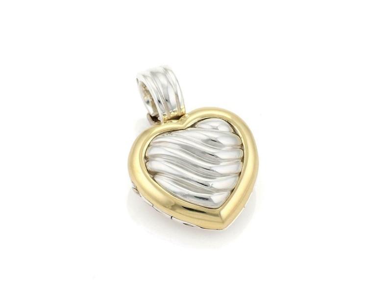 David Yurman Sterling Silver 18k Yellow Gold Cable Heart Locket Pendant