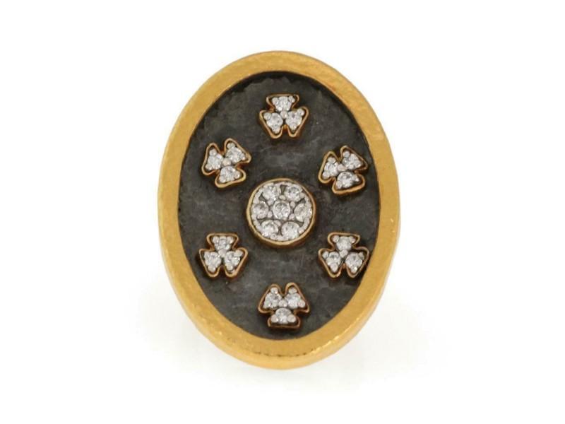 Gurhan Diamond 24k Hammered Gold Large Oval Ring Size 5.75