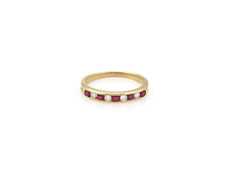 Tiffany & Co. Diamond Ruby 18k Yellow Gold 3mm Wide Stack Band Ring