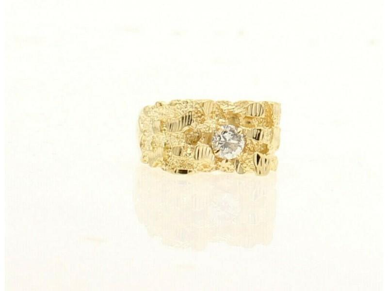 14k Yellow gold Nugget .40ct Diamond Men Ring Size 9