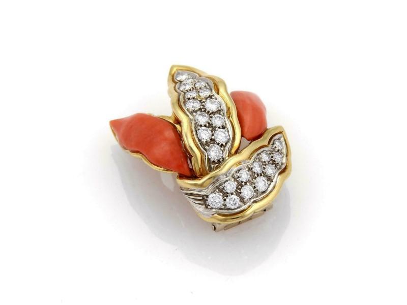 Vintage 1.25ct Diamonds Coral 18k Gold Fancy Long Leaf Design Brooch Pin