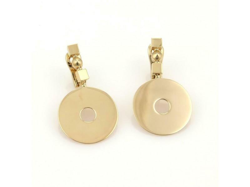 65219 Bvlgari 18k Yellow Gold Flat Disc Dangle Earrings